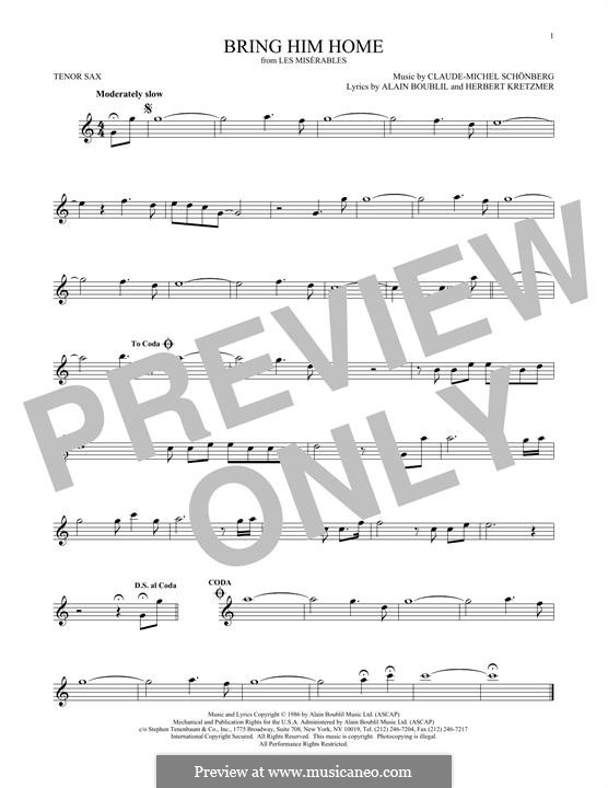 Bring Him Home: For tenor saxophone by Claude-Michel Schönberg