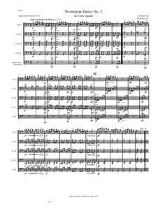Four Norwegian Dances, Op.35: Dance No.3, for cello quartet by Edvard Grieg