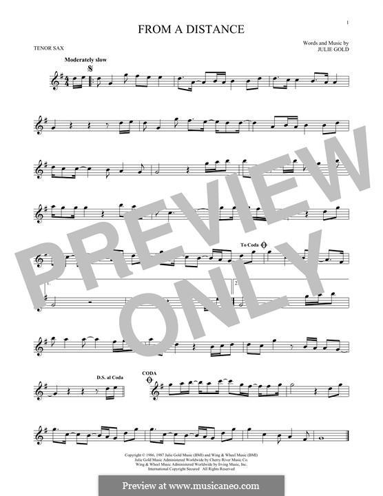 From a Distance: For tenor saxophone by Julie Gold