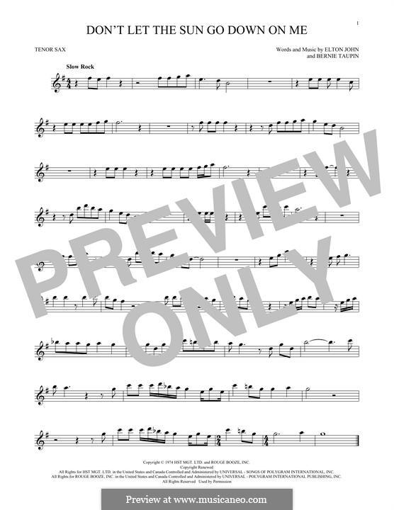 Don't Let the Sun Go Down on Me: For tenor saxophone by Elton John