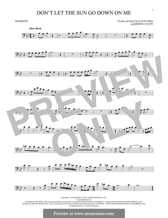 Don't Let the Sun Go Down on Me: For trombone by Elton John