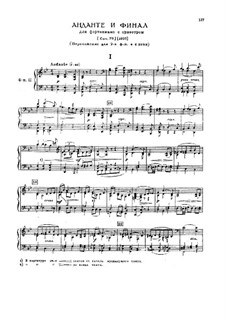 Andante and Finale for Piano and Orchestra, TH 241 Op.79: Arrangement for two pianos four hands by Pyotr Tchaikovsky