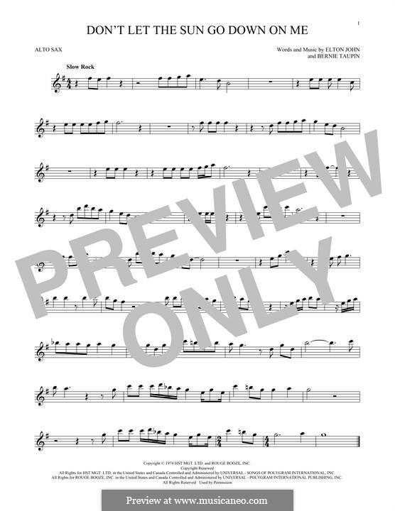 Don't Let the Sun Go Down on Me: For alto saxophone by Elton John