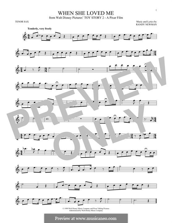 When She Loved Me (from Toy Story 2): For tenor saxophone by Randy Newman