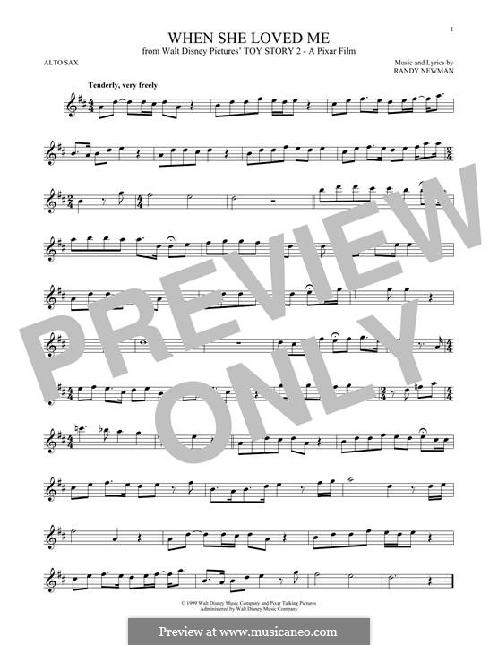 When She Loved Me (from Toy Story 2): For alto saxophone by Randy Newman