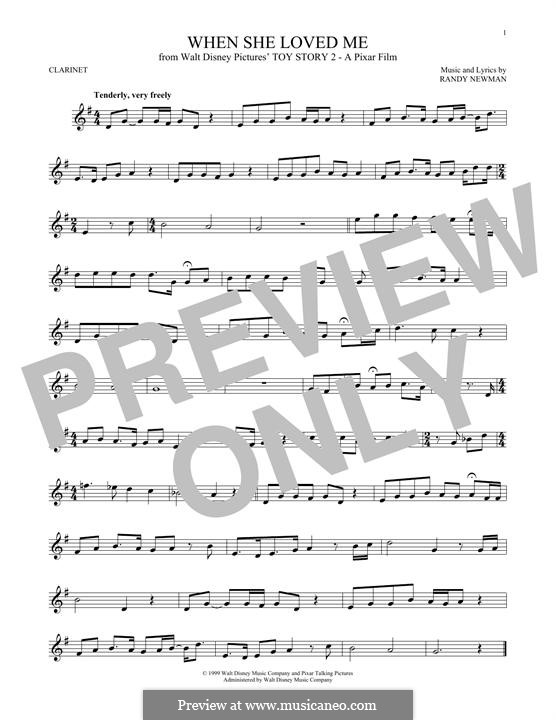 When She Loved Me (from Toy Story 2): For clarinet by Randy Newman