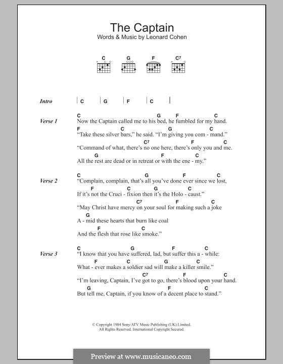 The Captain: Lyrics and chords by Leonard Cohen