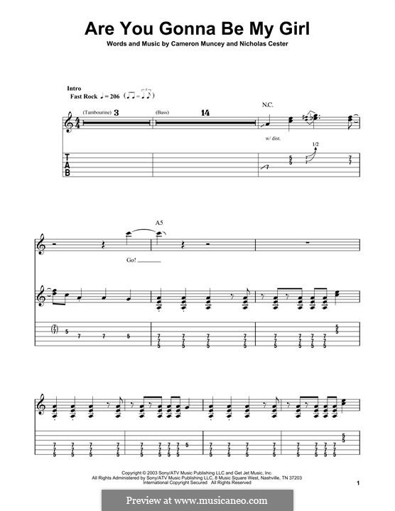 Are You Gonna Be My Girl (Jet): For guitar with tab by Cameron Muncey, Nic Cester