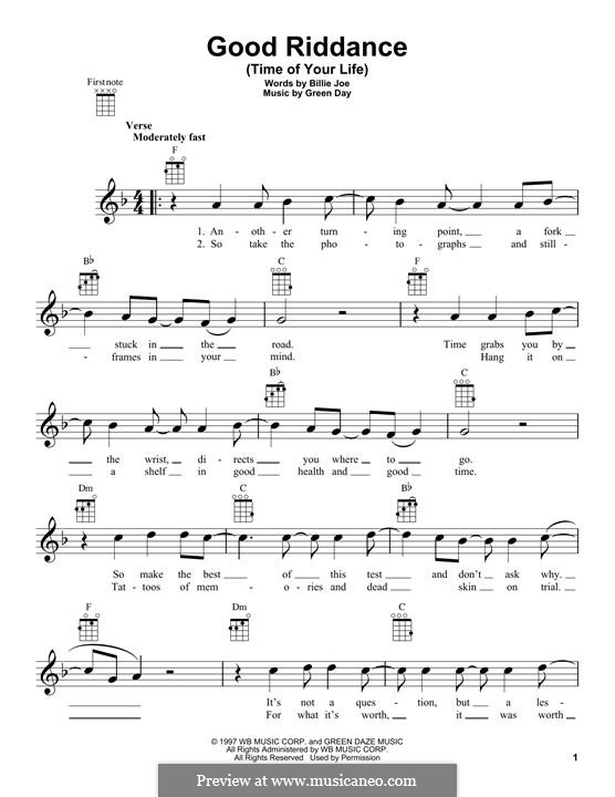 Good Riddance (Time of Your Life): For ukulele by Billie Joe Armstrong, Tré Cool, Michael Pritchard