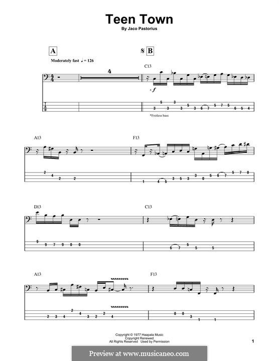 Teen Town: For bass guitar with tab by Jaco Pastorius