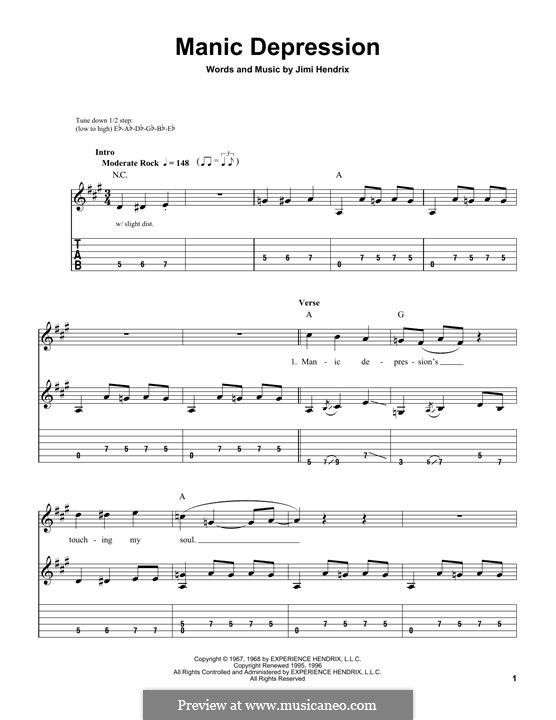 Manic Depression: For guitar with tab by Jimi Hendrix