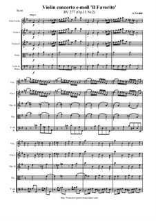 Six Concertos for Violin, Strings and Cembalo, Op.11: Concerto No.2 in E minor 'Il Favorito', RV 277 by Antonio Vivaldi