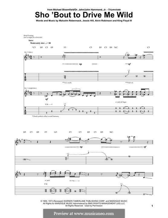 Sho 'Bout to Drive Me Wild: For guitar with tab by Malcolm John Rebennack, Alvin Robinson, Jessie Hill, King Floyd III