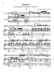 Sonata for Violin and Piano No.2 in G Major, Op.13: Score for two performers, Solo part by Edvard Grieg