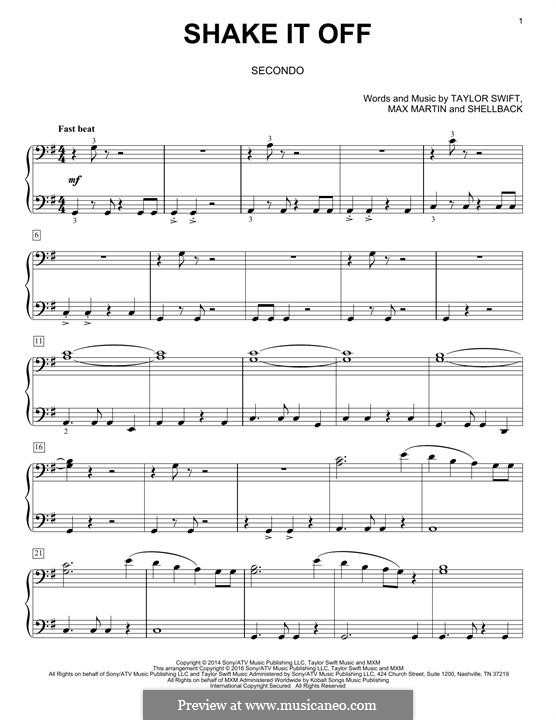 Shake it Off: For piano by Shellback, Max Martin, Taylor Swift