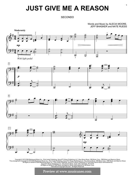 Just Give Me a Reason (Pink): For piano by Alecia Moore, Jeff Bhasker, Nathaniel Ruess