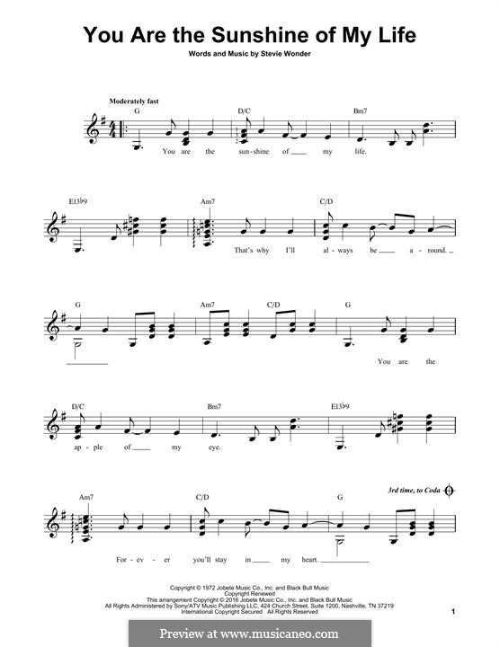 You are the Sunshine of My Life: For guitar with tab by Stevie Wonder