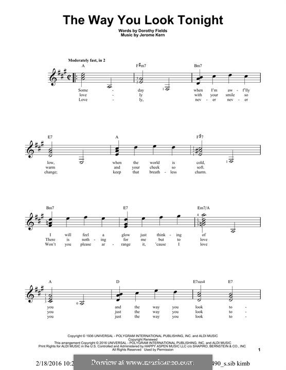 The Way You Look Tonight: For guitar with tab by Jerome Kern