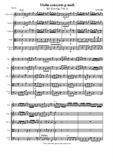 Concerto for Violin and Strings in G Minor, RV 326 Op.7 No.3: Score and parts by Antonio Vivaldi