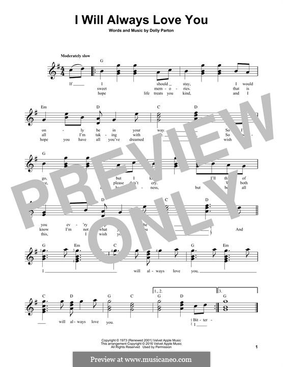 I Will Always Love You (Whitney Houston): For guitar with tab by Dolly Parton