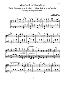 Album Leaf in Waltz Form, S.166: For piano by Franz Liszt