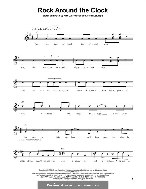 Rock Around the Clock (Bill Haley and His Comets): For guitar by Jimmy DeKnight, Max C. Freedman