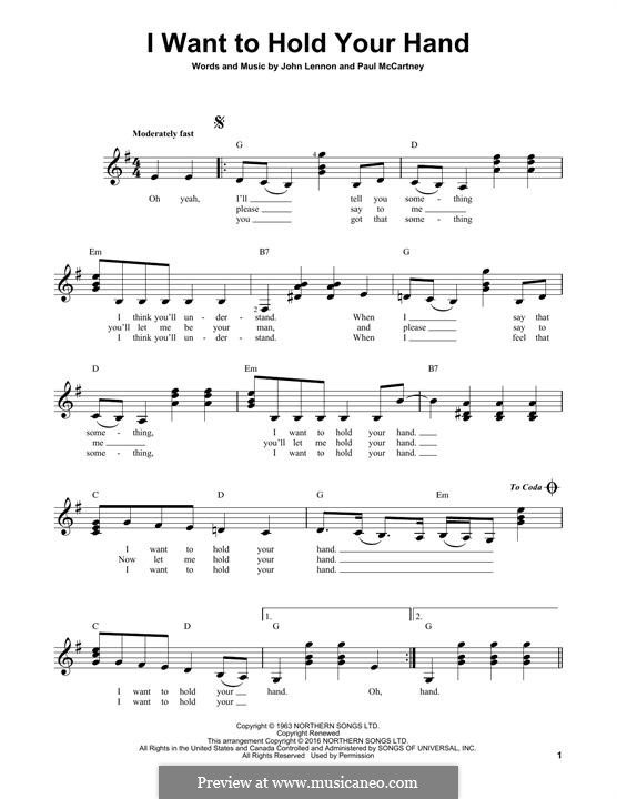 I Want to Hold Your Hand (The Beatles): For guitar with tab by John Lennon, Paul McCartney