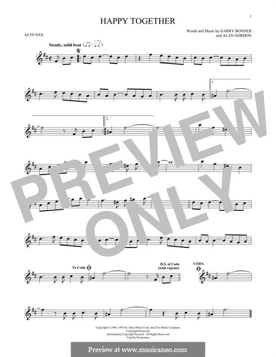 Happy Together (The Turtles): For alto saxophone by Alan Gordon, Garry Bonner