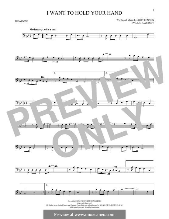 I Want to Hold Your Hand (The Beatles): For trombone by John Lennon, Paul McCartney