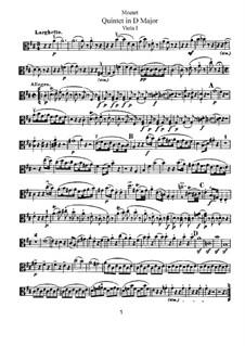 String Quintet No.5 in D Major, K.593: Viola I part by Wolfgang Amadeus Mozart