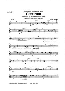 Canticum for 2 string quartets: Parts by Hans Bakker