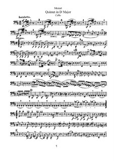 String Quintet No.5 in D Major, K.593: Cello part by Wolfgang Amadeus Mozart