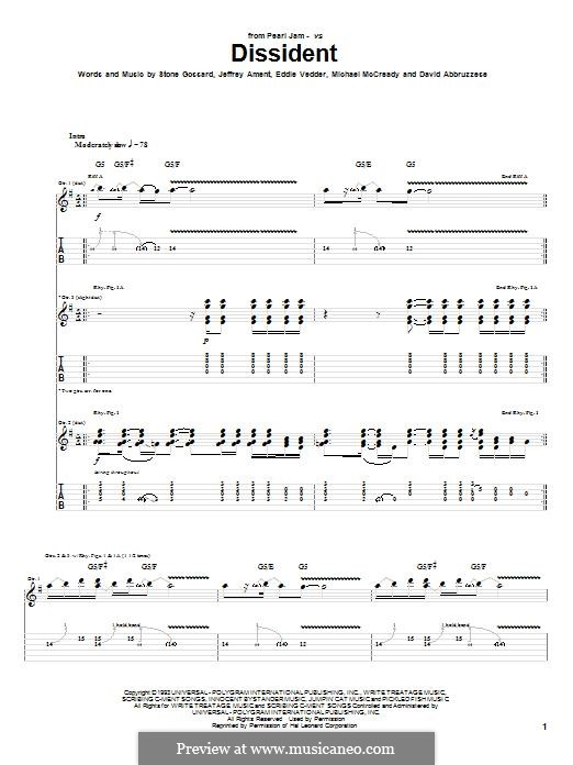 Dissident (Pearl Jam): For guitar with tab by David Abbruzzese, Eddie Vedder, Jeff Ament, Mike McCready, Stone Gossard