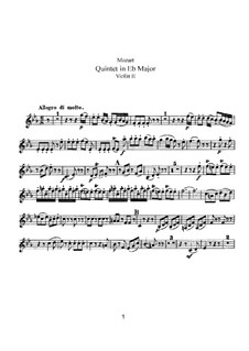 String Quintet No.6 in E Flat Major, K.614: Violin II part by Wolfgang Amadeus Mozart