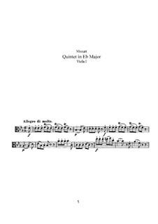 String Quintet No.6 in E Flat Major, K.614: Viola I part by Wolfgang Amadeus Mozart