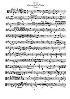 String Quintet No.6 in E Flat Major, K.614: Viola II part by Wolfgang Amadeus Mozart