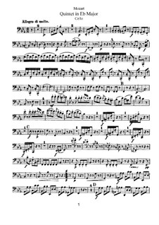 String Quintet No.6 in E Flat Major, K.614: Cello part by Wolfgang Amadeus Mozart