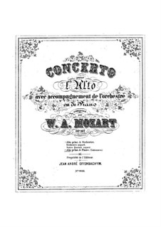 Concerto for Clarinet and Orchestra in A Major, K.622: Arrangement for viola and piano by Wolfgang Amadeus Mozart