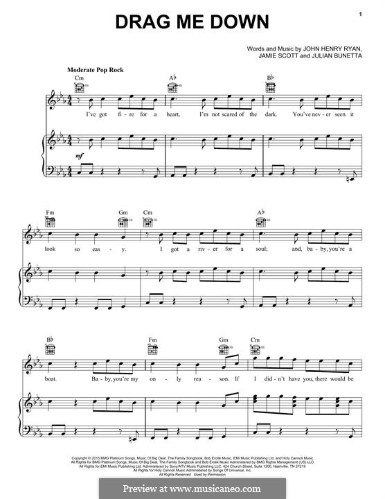 Drag Me Down (One Direction): For voice and piano (or guitar) by Julian Bunetta, Jamie Scott, John Henry Ryan