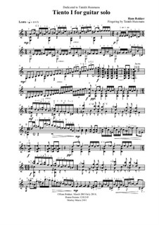 Tiento I for guitar solo: Tiento I for guitar solo by Hans Bakker