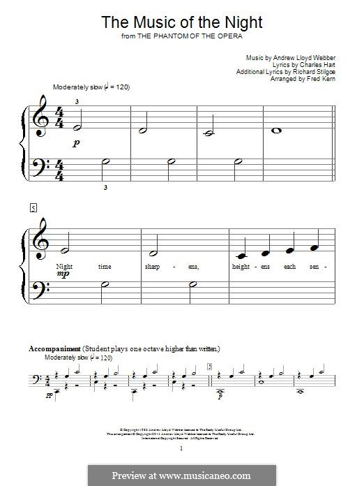 The Music of the Night, instrumental version: For piano by Andrew Lloyd Webber