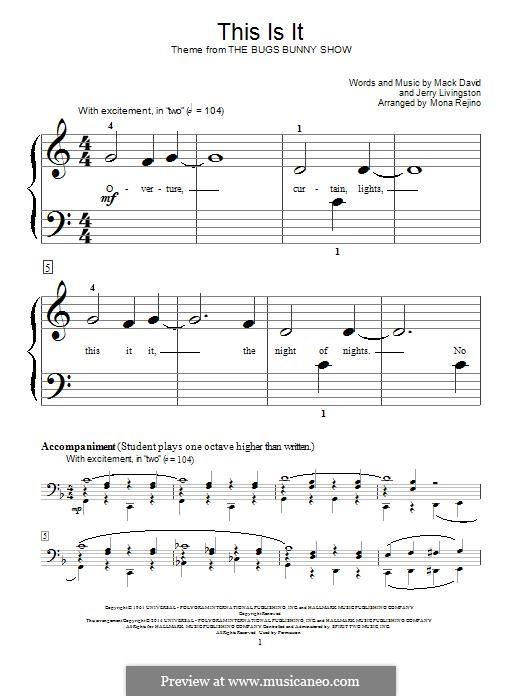This Is It (The Bugs Bunny Show): For piano by Jerry Livingston, Mack David