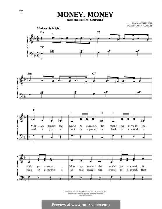 Money, Money (Joel Grey): For piano by John Kander
