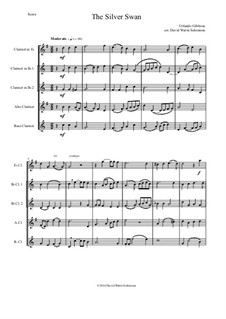 The Silver Swan: For clarinet quintet (E flat, 2 B flats, alto and bass) by Orlando Gibbons