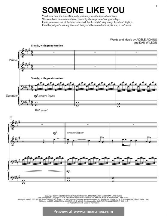 Someone Like You: For piano by Adele, Daniel Wilson