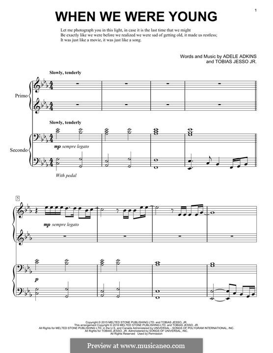 When We Were Young: For piano by Adele, Tobias Jesso