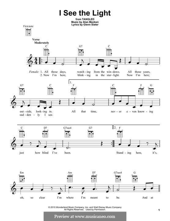 I See the Light: For ukulele by Alan Menken
