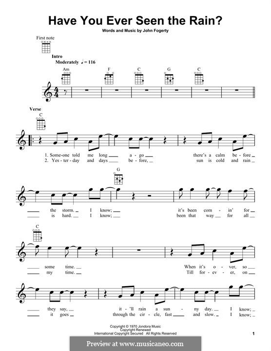 Have You Ever Seen the Rain? (Creedence Clearwater Revival): For ukulele by John C. Fogerty