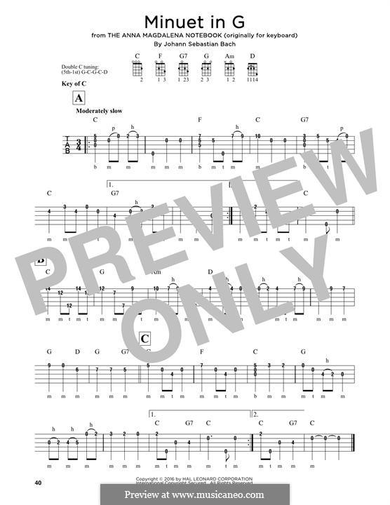 No.4 Minuet in G Major, BWV Anh.114: For banjo by Johann Sebastian Bach