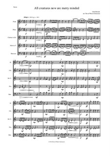 All creatures now are merry minded: For wind quintet by John Bennet
